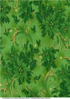 Green Swirls And Poinsettia Paper on Craftsuprint designed by Susan Heanes - A lovely Rich Green paper, with Swirls and Poinsettias. To use in your Christmas card making projects. - Now available for download!