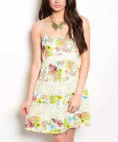 Look at this #zulilyfind! Ivory Floral Lace-Trim Sleeveless Dress #zulilyfinds