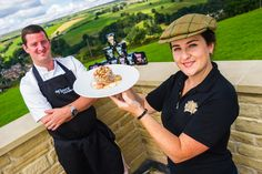 The Fleece Head Chef, Mark Parkinson with Bridget Douglas from Ultimate English. Yorkshire Day Yorkshire Pudding!