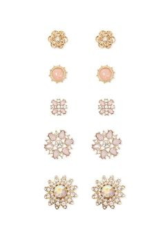 Product Name:Faux Gem Flower Stud Earring Set, Category:ACC, Price:7.9