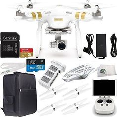 DJI Phantom 3 Professional Quadcopter Drone with 4K UHD Video Camera with Manufacturer Accessories Plus DJI Phantom Prop Guards (Set of 4) + Waterproof Backpack for DJI Phantom 3 Series + MORE drone reviews #djiphantom3professional #phantom3dronevideos