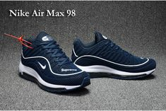Superior Fit Scarpa 2017 Nike Air Max 98 Dark Blu Bianco Uomo