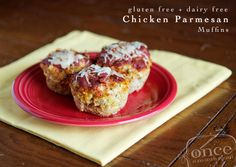 Gluten Free Dairy Free Chicken Parmesan Meatloaf Cups from Once A Month Mom