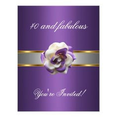 Invite Party Purple White Flower Fabulous 40th Custom Invites Elegant Birthday Party, Fabulous Birthday,