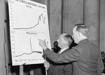 Commissioner of Labor Statistics describes how American earners lost more than $100 billion during nine years of unemployment, 1938. (Library of Congress Prints and Photographs Division)