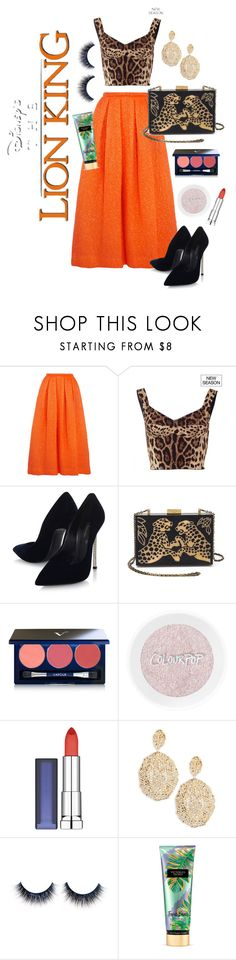"""the lion king challenge"" by beautytime101 ❤ liked on Polyvore featuring Rochas, Dolce&Gabbana, Casadei, Valentino, Vapour Organic Beauty, Maybelline, Aurélie Bidermann and Victoria's Secret"