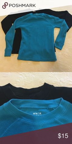 Bundle Of Two Thermal Long Sleeved The turquoise Thermo is from children's place and the black is a pro club Thermo very heavy both in excellent condition no stains Shirts & Tops