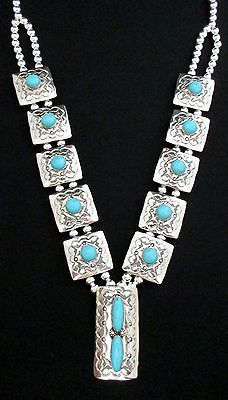 Navajo-Silver-and-Turquoise-Squash-Blossom-Necklace-Double-Strand-Signed-OP-484