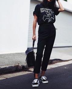 // @leemathewsau pants, #vintage tee, @vans & #mansurgavriel bag