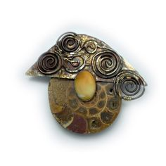 Fossil Ammonite Pin  Brooch   in Sterling Married Metals   Cathleen McLain McLainJewelry ammonite1202