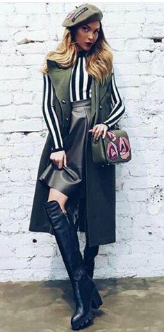 Fashion skirt shirt boots