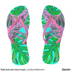 Shop Palm leaf and coleus tropical ice flip flops created by Butterflybeestro. Pink Turquoise, Coral Pink, Pink And Green, Turquoise Background, Tropical Design, Chart Design, Fire And Ice, Flipping, Cool Gifts