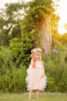 children's portraits, butterflies, toddler, floral crown, composite, custom portraits, 3 years old, dfw photographer