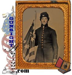 Nice Civil War Tintype - Troop With Us Flag