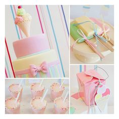 A Pretty Pastel Ice Cream Party! found on Polyvore featuring backgrounds, pink and sliki