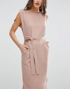 c539796271 ASOS Belted Midi Dress with Split Cap Sleeve and Pencil Skirt at asos.com
