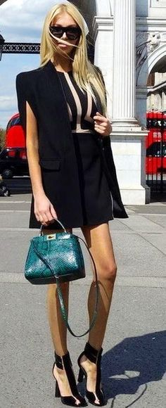 #summer #ultimate #classy #outfitideas | All Black + Pop Of Green
