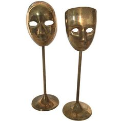 Brass Mask Figurines - A Pair (3,450 MXN) ❤ liked on Polyvore featuring home, home decor, figurines, brass home accessories, brass figurines, brass figure and brass home decor