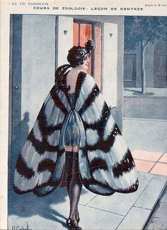 La Vie Parisienne, date unknown. Moth lady!