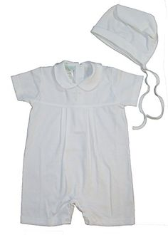 a67df7930 White 100% Cotton 2-Piece Christening Baptism Romper w/Cross 6 Month Petit