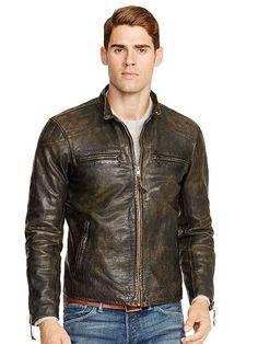 Caf�� Racer Jacket - Polo Ralph Lauren Leather \u0026amp; Suede - RalphLauren.com