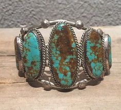 Quality Old Pawn Navajo Sterling Silver & 7 Stone Kingman Turquoise Bracelet!!