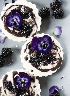 raw lemon cake with vanilla & blackberry sauce