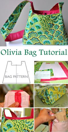 Olivia Bag Tutorial Tutoriel et modèle Olivia Bag pattern Bag Patterns To Sew, Sewing Patterns Free, Free Sewing, Pattern Sewing, Quilted Purse Patterns, Duffle Bag Patterns, Handbag Patterns, Tote Pattern, Patchwork Bags