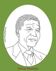"""This is a black and white line portrait of Nelson Mandela. This .zip file contains two images, one at 8.5"""".x11"""" 300dpi and one approximately 2"""" tall at 300dpi. These images may be enlarged up to double their size without losing quality."""