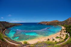 Hanauma Bay Ohau, HI. An ancient volcano crater, where we snorkled and swam with sea turtles. I've heard it will soon to close due to coral damage.