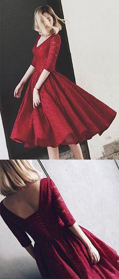 Burgundy Homecoming Dress,Lace V-neck Homecoming Dress,Half Sleeve Homecoming Gown,V Neck Short Prom Dresses,Lace Prom Dresses