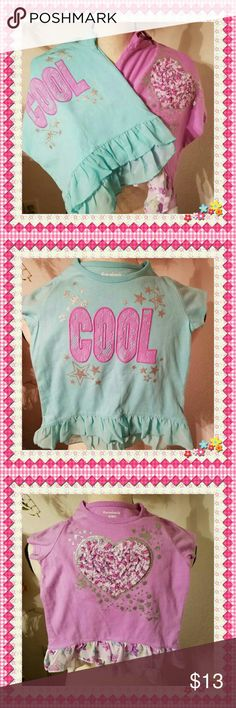 """Garanimal's Toddler Girl's Lot of 2 Tops Brand new! One Lavender with appliqu?d Heart, and One Aqua appliqu?d """"Cool"""" Lace. Both are trimmed with a ruffled Chiffon hem. Adorable! Garanimals Shirts & Tops"""