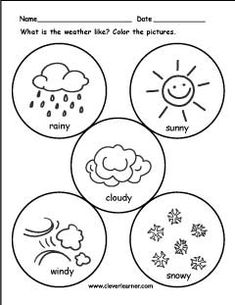 Preschoolers have to match the words rainy, sunny, and