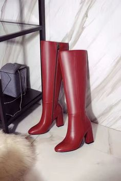 2016 Hot Sale Sexy Ladies Shoes Knee Length Thick High Heels Zipper Black Brown Wine Red Fur Women Knight Boots Plus Size33-43