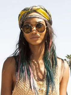 Chanel Iman head scarf - 5 ways to wear head scarves - celebrity hair trends summer 2014 Pigtail Hairstyles, Bobby Pin Hairstyles, Scarf Hairstyles, Down Hairstyles, Trendy Hairstyles, Hair Scarf Styles, Curly Hair Styles, Natural Hair Styles, Outfit Trends