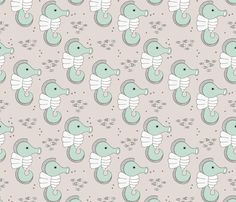 Adorable sea horse baby animals ocean dream mint - surface design by Little Smilemakers on Spoonflower - custom fabric and wallpaper inspiration for kids clothes fun fashion and trendy home decorations.