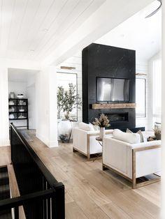 Home Fireplace, Fireplace Design, Granite Fireplace, Black Fireplace, Living Room Fireplace, Modern Fireplace, Fireplace Ideas, Fireplaces, New Living Room