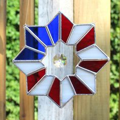 Patriotic American Flag Stained Glass Suncatcher by GoodGriefGlass
