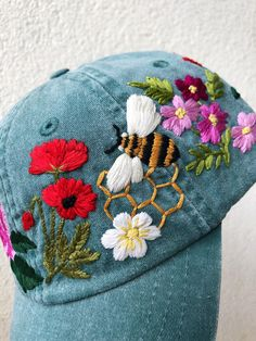 Hand Embroidered Hat / Custom Embroidered Hat / Floral Embroidered Hat / Embroidered Baseball Caps / Personalized Woman Hat/ Flower Hat - Source by - Simple Embroidery Designs, Floral Embroidery Patterns, Hat Embroidery, Embroidery On Clothes, Couture Embroidery, Hand Embroidery Stitches, Embroidery Fashion, Embroidery Letters, Hand Stitching