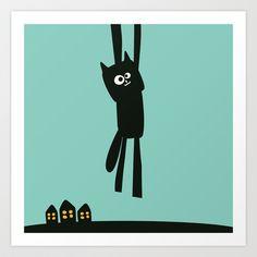 Just Hanging Around Oscar Art Print by Jacek Muda #kidsroom #kids #children #print #design #illustration #cat
