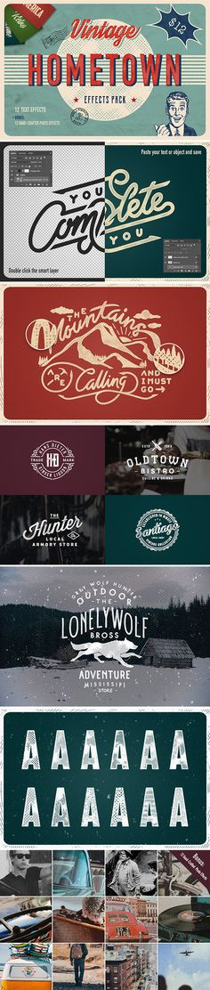 Hometown Effects Pack Layered Psd Ad Insignia Text On Photo Photoshop Text
