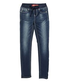 Look what I found on #zulily! Navy Knit Waist Skinny Jeans #zulilyfinds