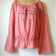 Nine West XLargeBoHo Peasant Blouse Embroidered Top Jeans Pink Peach White A4