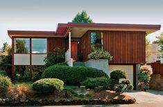 The 1955 Usonian-type house has typical cedar board-and-batten walls.