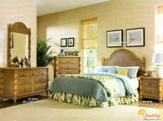 Beachcraft 9030 Wicker and Rattan Bedroom Group from Beachcraft Wicker Bedroom Furniture, Wicker Dresser, Wicker Headboard, Wicker Shelf, Wicker Tray, Wicker Table, Furniture Sets, Paint Wicker, Beach Furniture