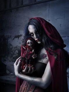 #Goth girl in horror make-up a la Red Riding hood theme
