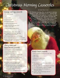 Christmas Morning Casseroles--from page 72 of the December, 2011 issue of Forsyth Woman magazine.