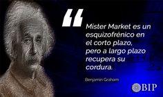 Frase célebre de Benjamin Graham: ¨Mister Market es un esquizofrénico en el corto plazo, pero a largo plazo recupera su cordura.¨ Graham, Movie Posters, Famous Taglines, Motivational Quotes, Finance, Film Poster, Billboard, Film Posters