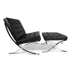 Relax Fauteuils Barcelona Chair + ottoman relax fauteuil zwart