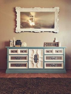 Homemade Chalk Paint all BM: new life from old 70's brown. No names of colors given. Love the white mirror frame too!